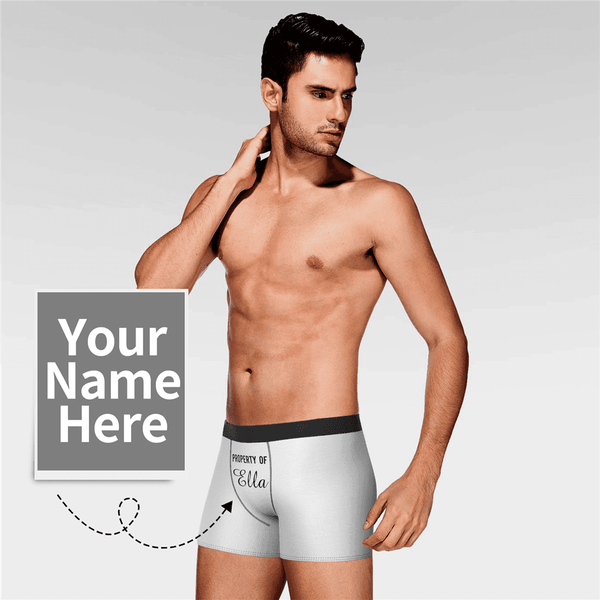Men's Personalized Name Colorful Property of Boxer Shorts