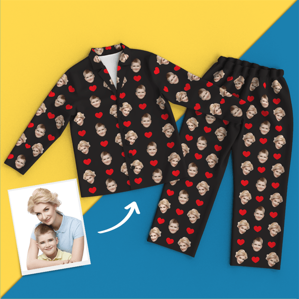 Custom Heart Pajamas Shirt And Pants With Face, Black