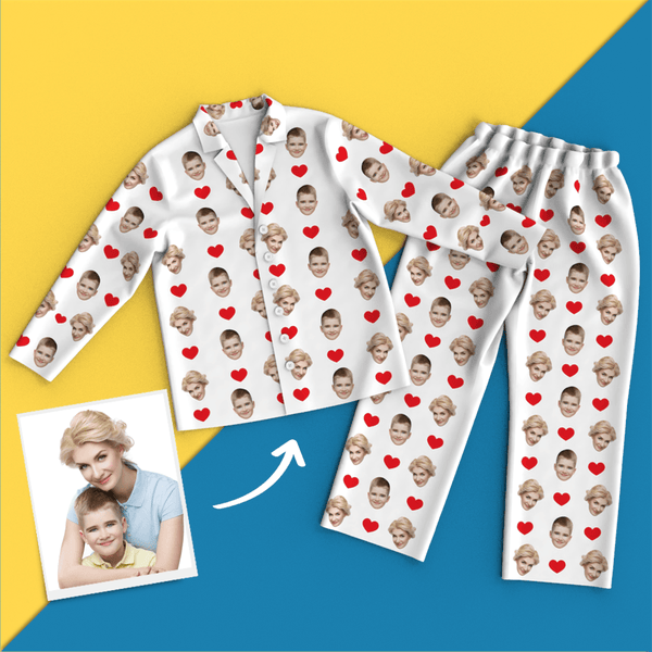 Custom Heart Pajamas Shirt And Pants With Face, White