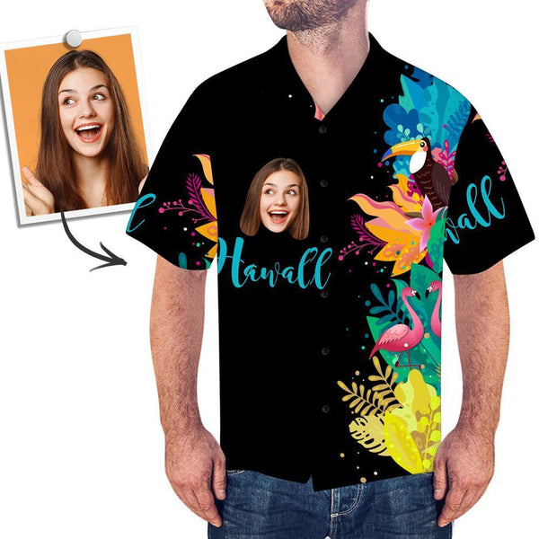 Custom Face Shirt Photo Hawaiian Shirt Black Shirt