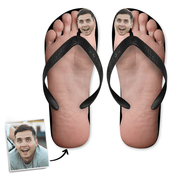 Custom Face Photo Big Toe Flip Flops with His Face