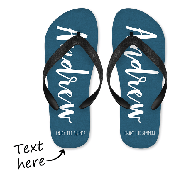 Personalized Text Flip Flop for Summer Comfortable - Blue
