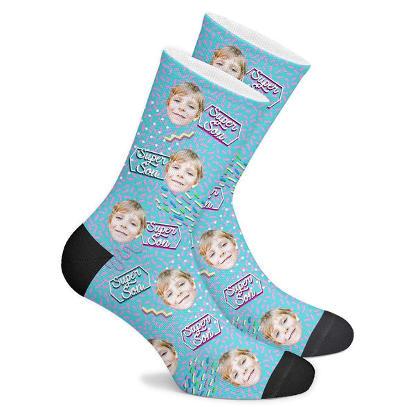 Super Son Retro Custom Face Socks - MyFaceBoxer