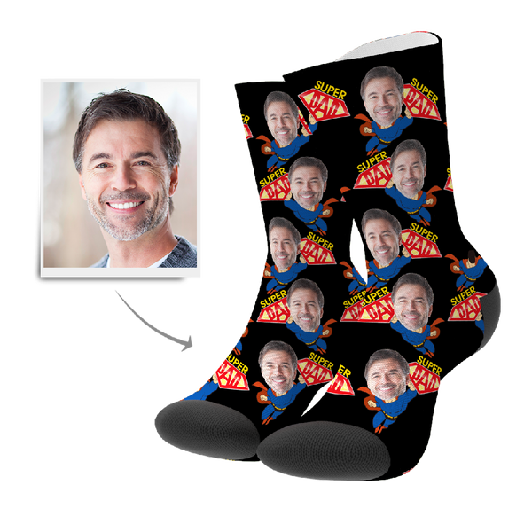 Father's Day Gift Superhero Dad Custom Face Socks