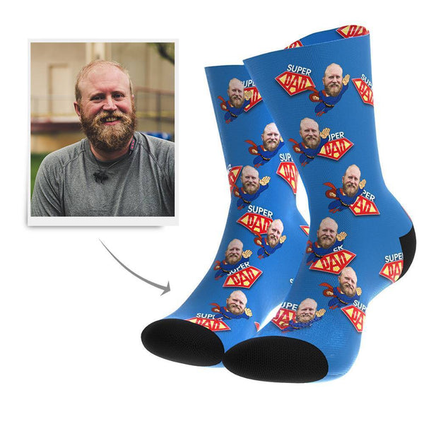 Superhero Dad Custom Face Socks - MyFaceBoxer