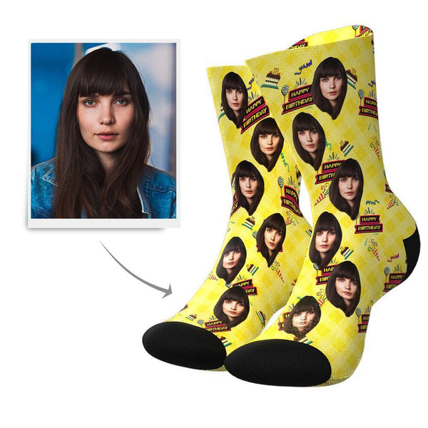 Happy Birthday Custom Face Socks - MyFaceBoxer