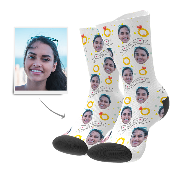 Custom I Love You Socks - MyFaceBoxer