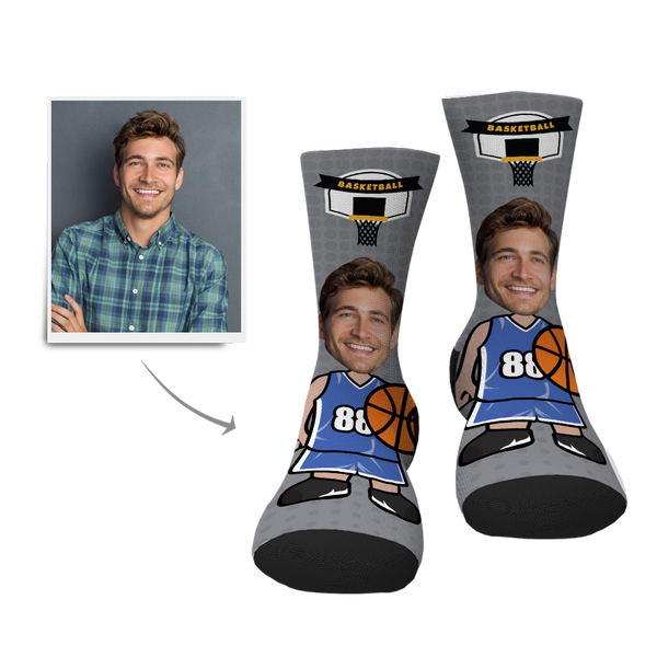 Father's Day Gift Personalized Face Socks - Basketball Player - MyFaceBoxer
