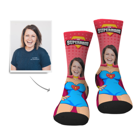 Mother's Day Personalized Supermom  Face Socks - MyFaceBoxer