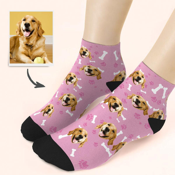 Custom Dog And Face On Quarter Length Socks