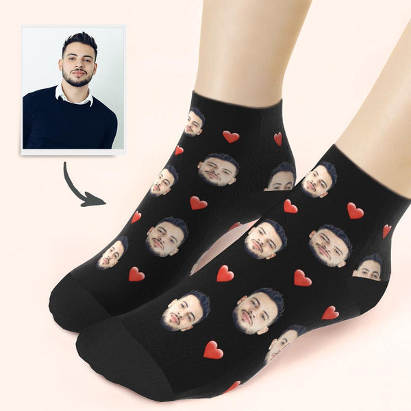 Custom Face And Heart On Quarter Length Socks