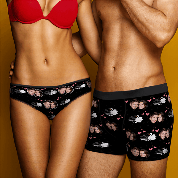Couple Underpants Set Swan And Face On Underwears