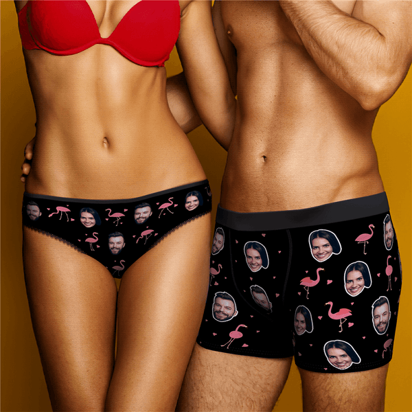 Couple Underpants Set Flamingo And Face On Underwears