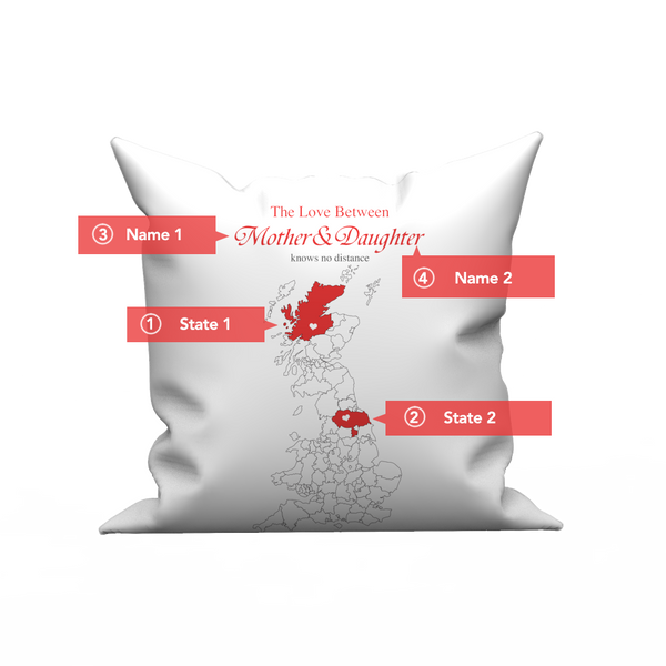 Custom The Love pillow case  with The United Kindom's Map- Love Knows No Distance - MyFaceBoxer