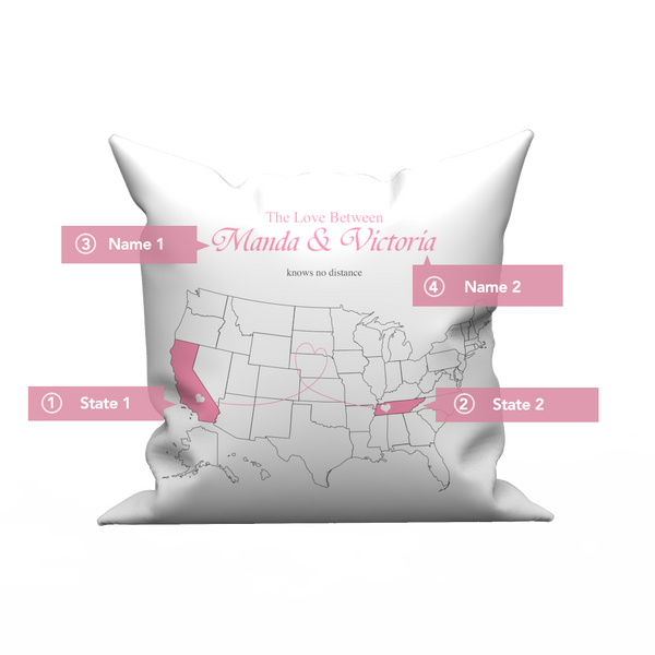 Custom The Love pillow case  with United States map- love knows no distance