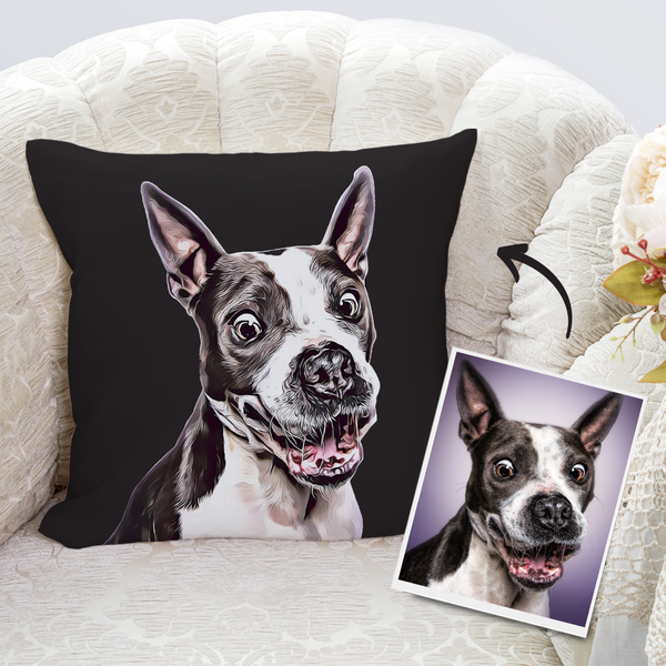 Custom Dog Throw Pillow Case Black Personalized Pet Photo PillowCase Painted Art Portrait
