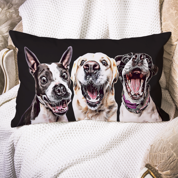 Custom Dog Pillow Case Black Personalized Pet Photo PillowCase Painted Art Portrait