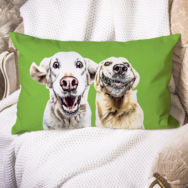 Custom Dog Pillow Case Lime Green Personalized Pet Photo PillowCase Painted Art Portrait