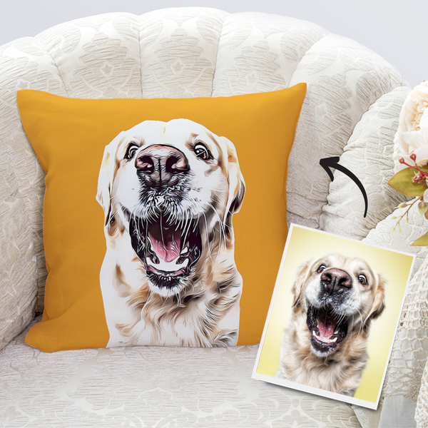 Custom Dog Throw Pillow Case Orange Personalized Pet Photo PillowCase Painted Art Portrait