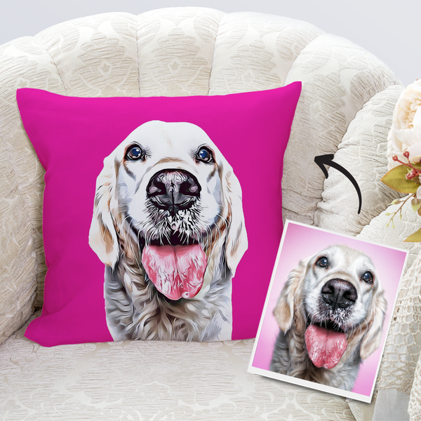 Custom Dog Throw Pillow Case Pink Personalized Pet Photo PillowCase Painted Art Portrait