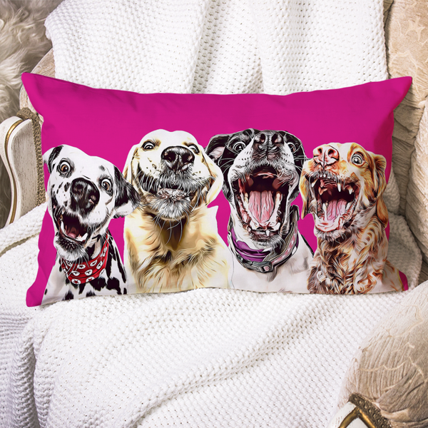 Custom Dog Pillow Case Pink Personalized Pet Photo PillowCase Painted Art Portrait