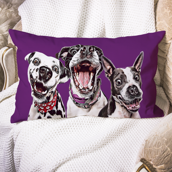 Custom Dog Pillow Case Purple Personalized Pet Photo PillowCase Painted Art Portrait