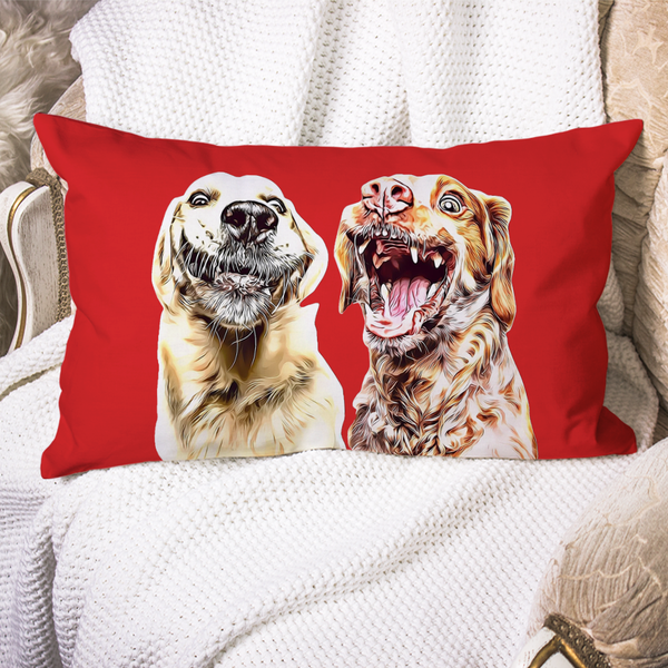 Custom Dog Pillow Case Red Personalized Pet Photo PillowCase Painted Art Portrait