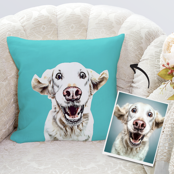 Custom Dog Throw Pillow Case Teal Personalized Pet Photo PillowCase Painted Art Portrait