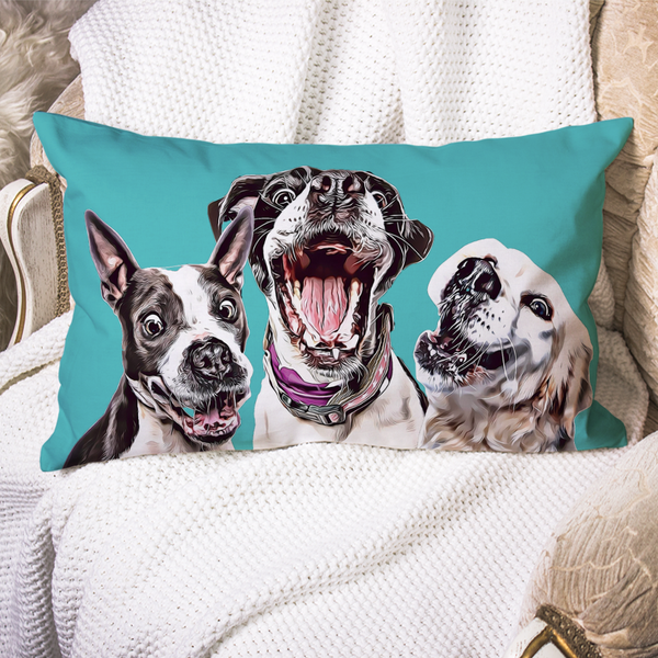 Custom Dog Pillow Case Teal Personalized Pet Photo PillowCase Painted Art Portrait