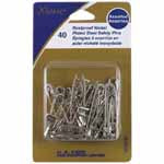 Nickel Plated Steel Safety Pins - Assorted (sizes 1 & 2) - 40pcs. 3010181