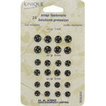 Snap Fasteners Assortment Black - 5mm, 6mm, 7mm - 24 sets  3035333