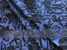 Load image into Gallery viewer, Designer Black/Blue Scroll 100% Cotton