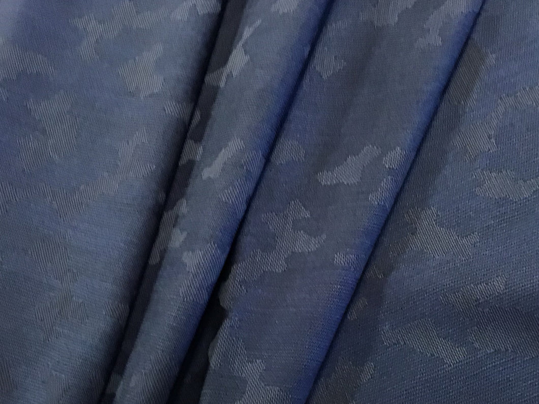 Blue Woven Camouflage Stretch Suiting