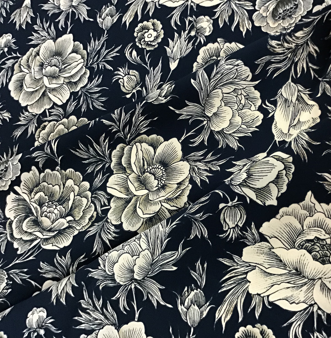 Midnight Navy Floral 100%Rayon