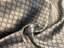 Load image into Gallery viewer, Blue-Grey Designer Chain Link 100% Silk Dot Jacquard     1/4 Meter Price