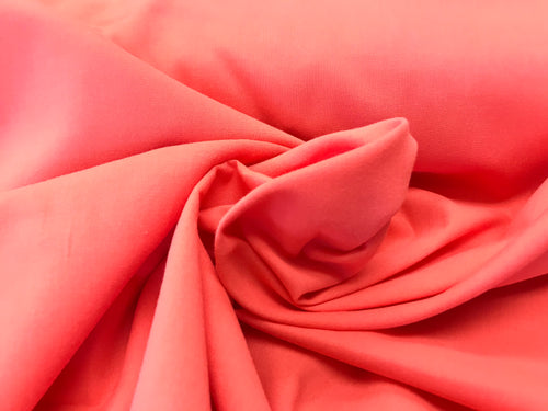 Lightweight Coral 100% Cotton Broadcloth     1/4 Meter Price