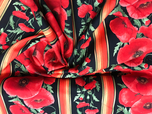 Poppy and Stripes 100% Cotton     1/4 Meter Price