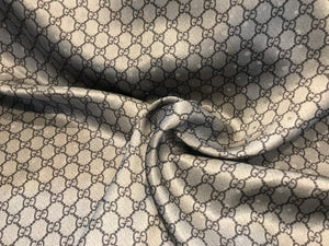 Blue-Grey Designer Chain Link 100% Silk Dot Jacquard     1/4 Meter Price
