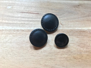 Flat Top Black Leather Buttons