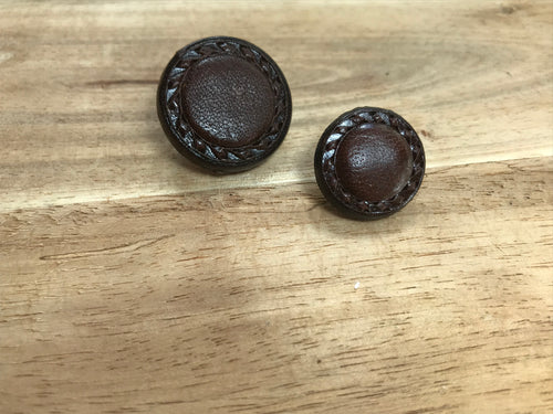 Brown Chain Leather Button
