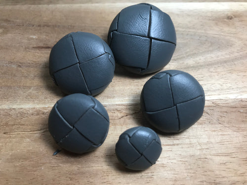 Grey Woven Leather Buttons