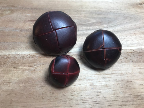 Wine Woven Leather Buttons
