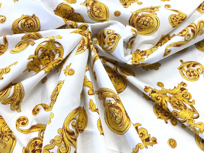 Italian Designer Scroll & Hearts White 100% Cotton Shirting   1/4 Meter Price