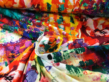 Load image into Gallery viewer, Painted Floral 96% Rayon 4% Spandex     1/4 Meter Price