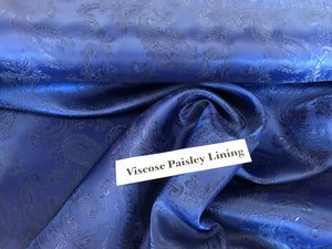 Royal Blue Viscose Paisley Lining