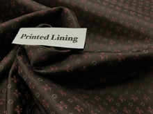 Load image into Gallery viewer, Brown & Pink Repeated Print 100% Viscose Lining.   1/4 Meter Price