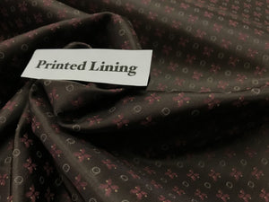 Brown & Pink Repeated Print 100% Viscose Lining.   1/4 Meter Price