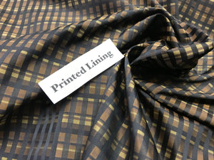 Brown Plaid 100% Viscose Lining     1/4 Meter Price