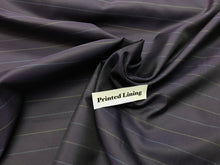 Load image into Gallery viewer, Purple Pin Striped 100% Viscose Lining      1/4 Meter Price