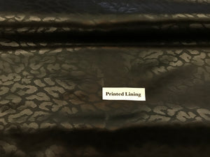 Black Jacquard Animal Print 100% Viscose Lining     1/4 Meter Price